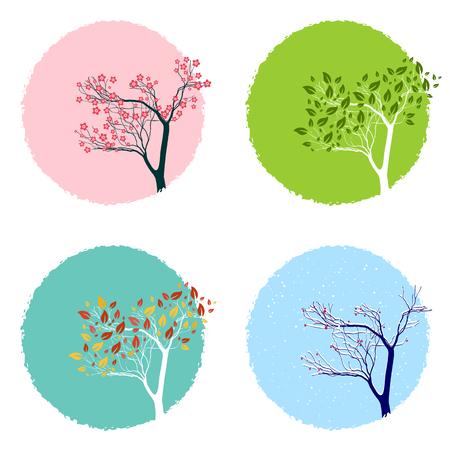 Illustration of the trre in four seasons, backgrounds set Illustration