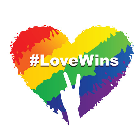 Illustration of heart in LGBT colors with a Love Wins hashtag