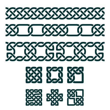 celtica: Celtica nodi quadrati e ornamenti senza soluzione di continuità, illustrazione vettoriale Vettoriali