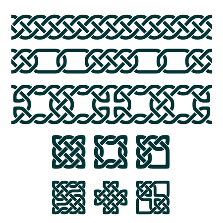 knot: Square celtic knots and seamless ornaments, vector illustration