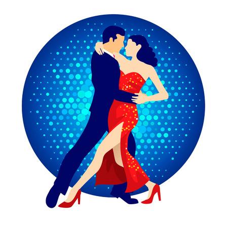 baile latino: Ilustraci�n de bailarines de tango, hombre y mujer bailando