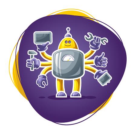 riparatore: Riparatore mascotte robot, tecnologia concetto, illustrazione vettoriale