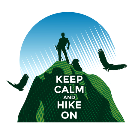 man hiking: Hiking concept, man standing on the top  of mountain