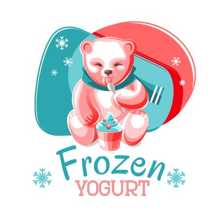 frozen yogurt: Illustration of pink bear eating frozen yogurt Illustration