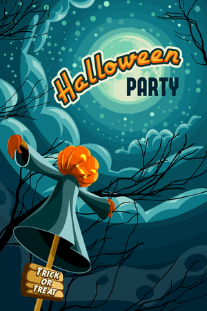 retro styled: Halloween party poster, retro styled halloween vector illustration Illustration