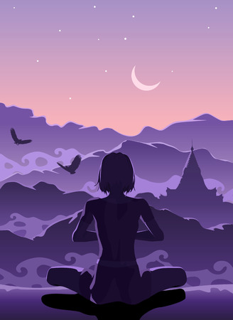 Woman meditating in the mountains early in the morning Illustration