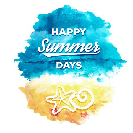 fondos azules: Acuarela de antecedentes de verano, paisaje marino de la acuarela, ilustración vectorial Vectores