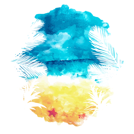 Watercolor summer background, watercolor seascape, vector illustration Vettoriali