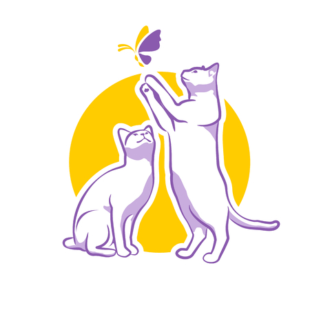 cats playing: Illustration of two cats playing with butterfly