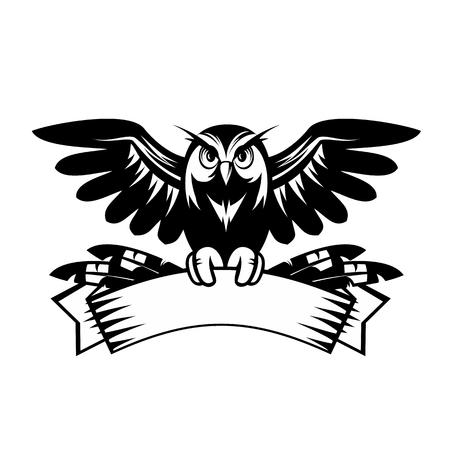owl tattoo: Illustration of owl sitting on the banner