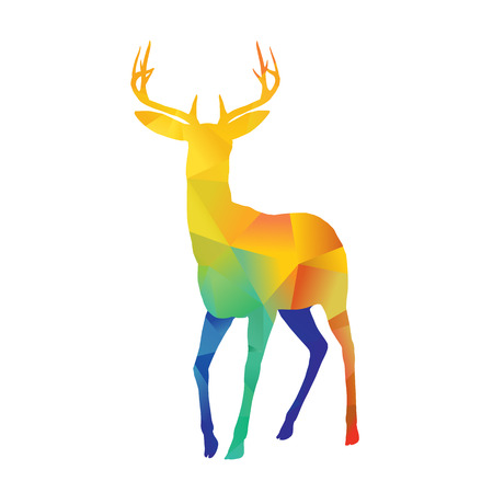 deer: Abstract colorful deer on white background