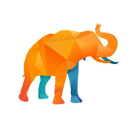 siluetas de elefantes: Elefante colorido abstracto sobre fondo blanco