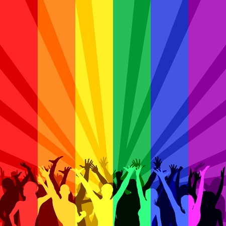 bisexuality: Illustration with rainbow color for LGBT people Illustration