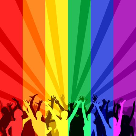 lesbianas: Ilustración con color del arco iris de las personas LGBT