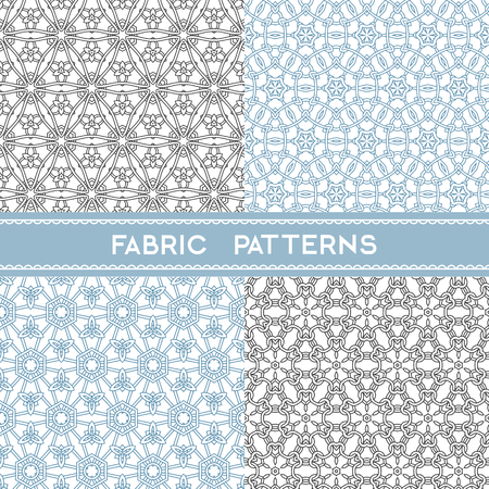 Collection of round fabric patterns, seamless  textile patterns Illustration