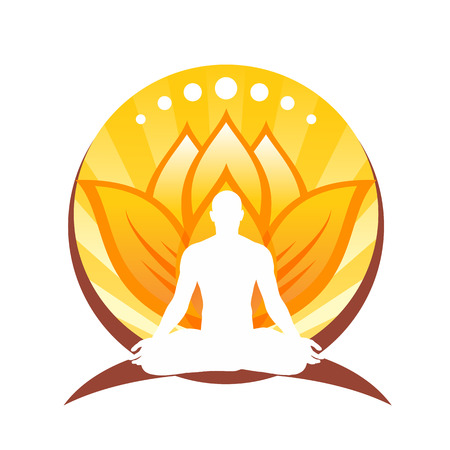 vitaliteit: Yoga emblem with a man sitting in a lotus position