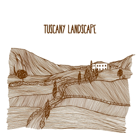 sketch drawing: Hand drawn rural tuscany landscape