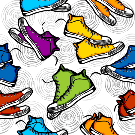 tileable background: Seamless sneakers pattern, tileable background for textile and wrapping paper