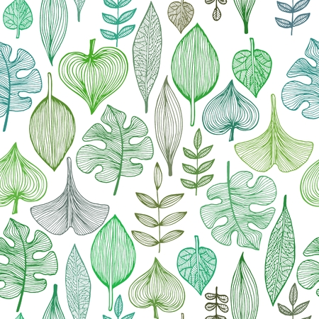 ink painting: Seamless  pattern with green leaves, background for textile and wrapping paper Illustration