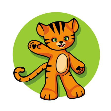 tigre cachorro: Mascota del tigre de la historieta, figura de juguete, cachorro de tigre