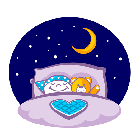 blanket: Little boy with a teddy bear sleeping in a bed Illustration