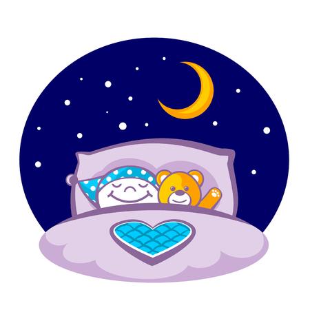 oso de peluche: Niño pequeño con un oso de peluche para dormir en una cama