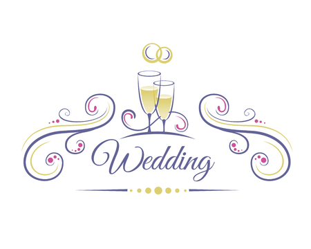 Wedding Decoration with two glasses of champagne and wedding rings