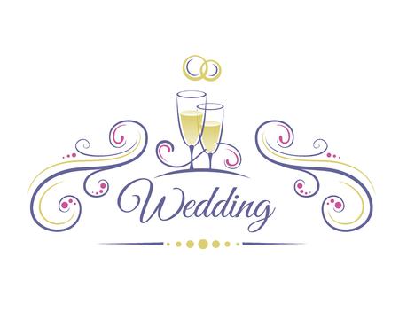 Bruiloft Decoratie met twee glazen champagne en trouwringen Stock Illustratie