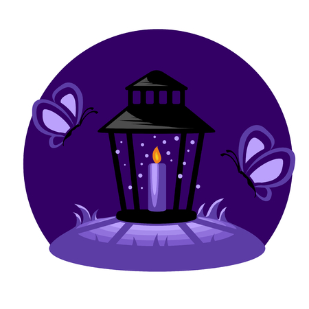 advent candles: Funeral candle at night, lantern and two butterflies