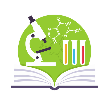 science icons: Science emblem with a book, a microscope and tubes