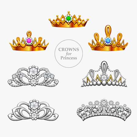 princess crown: Seven crowns for a princess, gold crowns and diadems Illustration