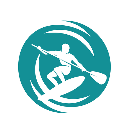 surf silhouettes: Man on the paddleboard, surfing in the waves Illustration