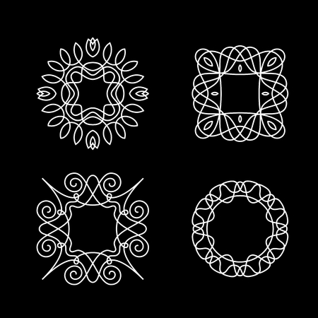 floral decoration: Four elegant frames, stylish ornaments