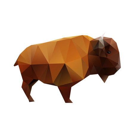 american bison: Low polygonal buffalo, abstract bison