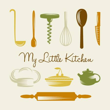 silhouettes people: Various kitchen utensils, chief hat and cherry cake