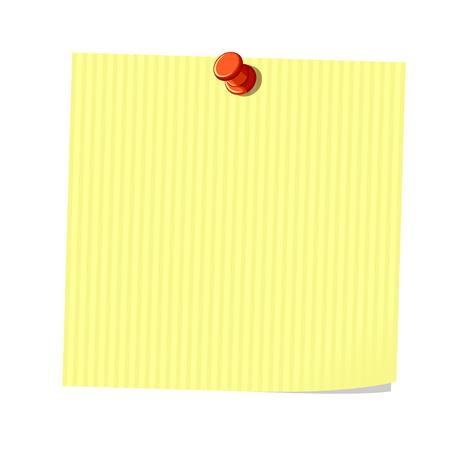 sticky note: Yellow sticky note, blank  piece of paper, vector illustration