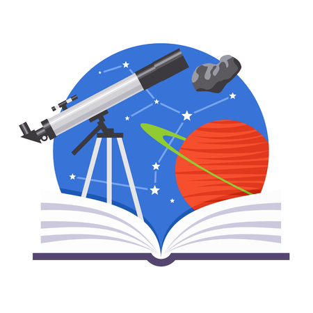 comet: Astronomy emblem with a telescope, comet and a planet Illustration