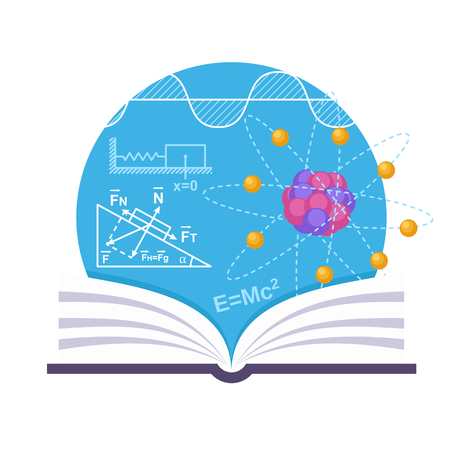 physic: Physics emblem with a book, structure of atom and some schemes