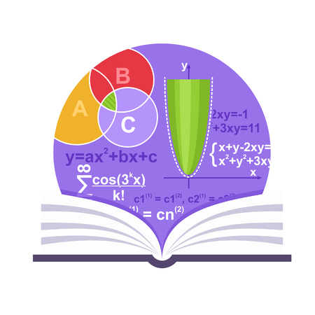 Mathematics emblem with a book, parabola and some formulas Ilustrace
