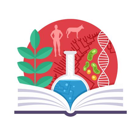 Biologie-Emblem mit einem Buch, einer grünen Pflanze, DNA und Baum der Evolution Illustration