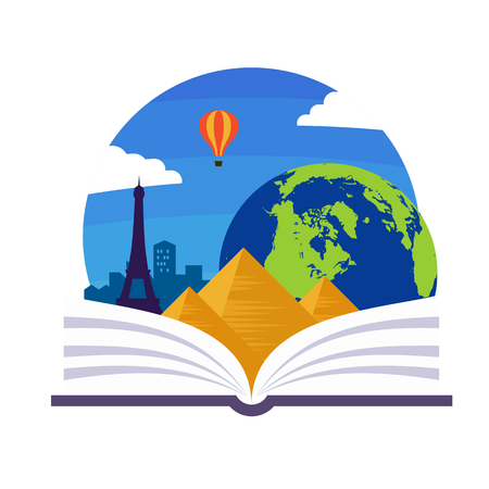 geography: Geography emblem with a book, a globe and some landmarks Illustration