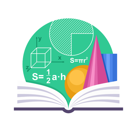 Geometry emblem with a book and some geometric figures Vectores