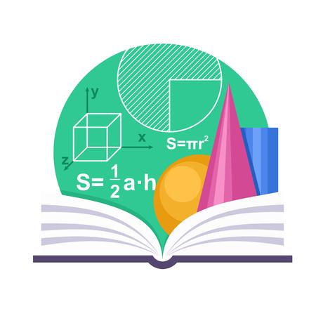 matematica: Emblema de la geometría con un libro y algunas figuras geométricas
