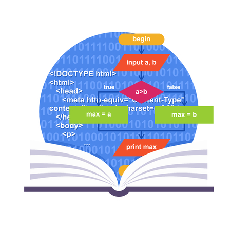 html: Programming emblem with a book, abstract algoritm and HTML code