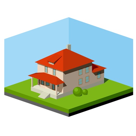 roof construction: Small abstract suburban house, vector isometric illustration