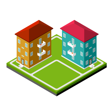 district': Two isometric buildings, small district, vector illustration Illustration