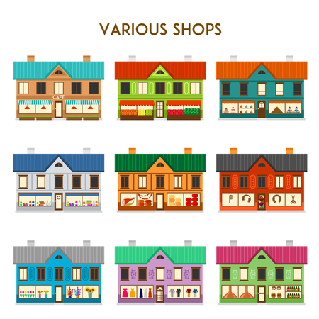 retail store: Set of various shop colorful buildings, vector illustration Illustration