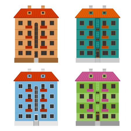 modern apartment: Various apartment houses, four modern vector buildings