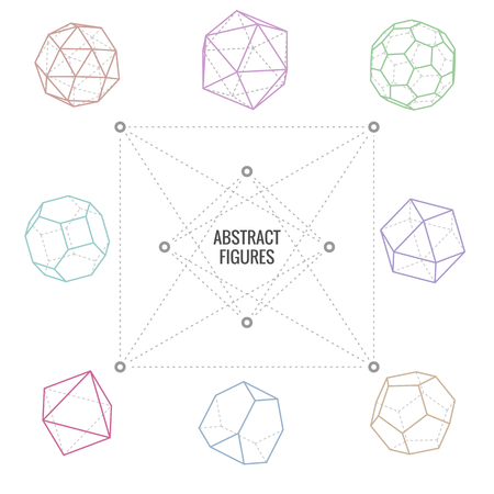 Eight different abstract figures on white background, vector illustration Illustration