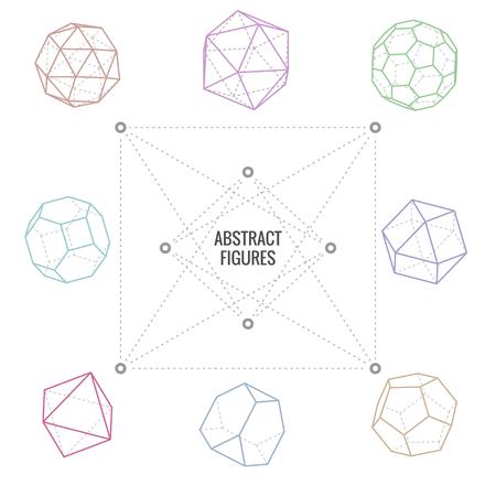 to polygons: Ocho figuras abstractas diferentes en el fondo blanco, ilustración vectorial